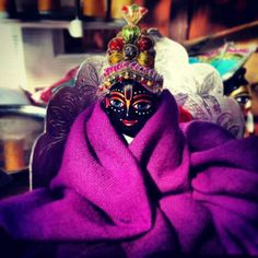 He's so cute....laddu gopal.....covered him in voilet blanket.....so cuuteee....♡