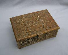 Antique Erhard & Sohne Bronze Art Nouveau Floral Jewelry Casket Box Signed #ArtNouveau #ErhardSohne