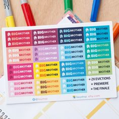 Big Brother TV Series Full Seasons - 45 Episodes - TV Shows Sticker Planner by FasyShop on Etsy