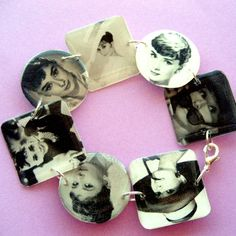 AUDREY HEPBURN lightweight resin circle and square charm bracelet 7.5 inch   designsbytami - Jewelry on ArtFire
