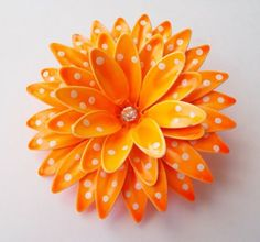 Polka Dot Orange White Rhinestone Enamel Layered Flower Pin