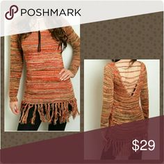 Adorable Marled Fringe Bottom Sweater This sweater is adorable with marled stitching and a fringe hemline! Great fall color with a semi open back. Cute and cozy. Standard sizes available S to L. New boutique item! Sweaters
