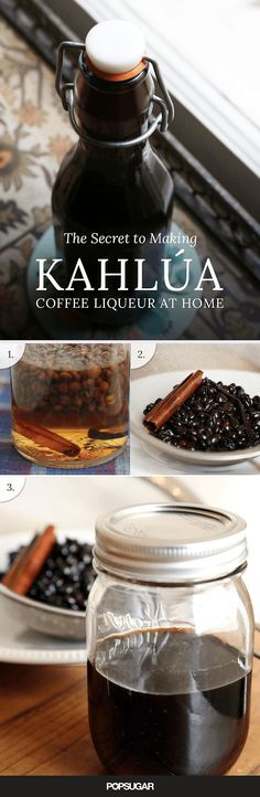 Kahlúa Coffee Liqueur 1 ml) bottle vodka or white rum 1 cups dark rum, like Pampero 1 cups sugar pound whole coffee beans 1 vanilla bean 1 cinnamon stick 1 tablespoon cocoa nibs, optional 1 slice of orange peel, optional Homemade Kahlua, Homemade Alcohol, Homemade Liquor, Homemade Food Gifts, Fun Drinks, Yummy Drinks, Beverages, Mocktail Drinks, Alcoholic Drinks