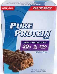 Pure Protein Chocolate Salted Caramel Gluten-Free Value Pack 6 Bars x = Pure Protein Bars, Peanut Butter Protein Bars, Coconut Protein, Protein Energy, Coconut Bars, Energy Bars, Whey Protein, Chocolate Chip Bars, Peanut Butter Chocolate Bars