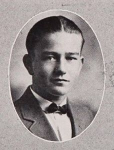 Marion Morrison, Glendale High School, 1923.  John Wayne was born Marion Robert Morrison in Iowa, to Mary Alberta (Brown) and Clyde Leonard Morrison, a pharmacist. He was of English, Ulster-Scots, and Irish ancestry