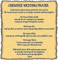 Cherokee wedding Prayer Native American Prayers, Native American Spirituality, Native American Wedding, Native American Cherokee, Native American Symbols, Native American History, American Indians, Native Symbols, Wedding Prayer