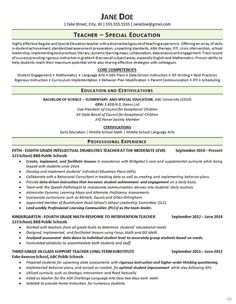 Special Education Teaching Resume Example  Teaching Resume