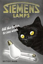"""""""All the Better to See With,"""" light bulb ad with black cat (1950s UK ad)"""