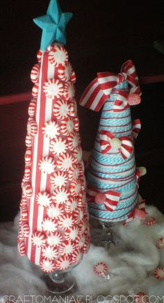 Craft-O-Maniac: Christmas Craft- {Whimsical Candy Ribbon Trees}