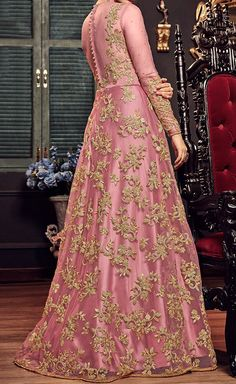 delisa Indian/Pakistani Bollywood Party Wear Long Anarkali Gown for Womens Razzi violate N Party Wear Indian Dresses, Pakistani Wedding Outfits, Indian Gowns Dresses, Pakistani Dresses, Bridal Outfits, Indian Outfits, Wedding Lehnga, Flapper Dresses, Bridal Lehenga