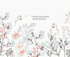 Floral Border Bouquet Rustic Hand Drawn By LisaGlanzGraphics