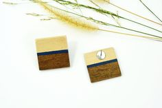 Geometric wood square earrings, Wooden stud handmade earrings, Every day modern earrings, Navy indigo blue earrings, Christmas gift for her Wood Earrings, Blue Earrings, Etsy Earrings, Earrings Handmade, Best Friend Gifts, Gifts For Friends, Zodiac Birthday Signs, Wall Art Crafts, Wood Square