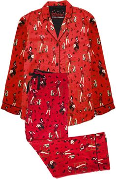 "PJ Salvage ""Frontier"" Women's Flannel Pajama Set in Red"