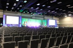 The Exhibit Hall at the Utah Valley Convention Center set for a corporate presentation.
