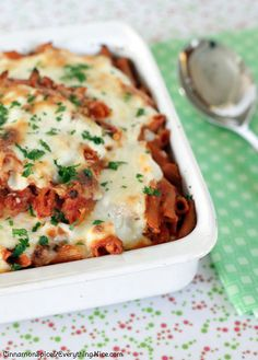 Classic Italian-American baked ziti with roasted eggplant, spicy red pepper sauce and oodles of melted, gooey cheese including ricotta, mozzarella and parmesan.