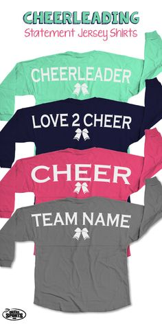 Our popular long sleeve crew neck Statement Jersey Shirts are over-sized shirts that are guaranteed to be super comfy and perfect for a weekend competition or just relaxing any day! We offer monogram personalization on the front of these shirts to create the ultimate cheer gift any cheerleader will love to wear!  Only from ChalkTalkSPORTS.com!