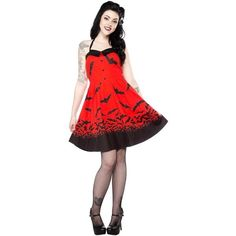 Sourpuss Spooksville Bats Dress Red ❤ liked on Polyvore featuring dresses, white dress, red dress, red day dress, red white dress and white day dress