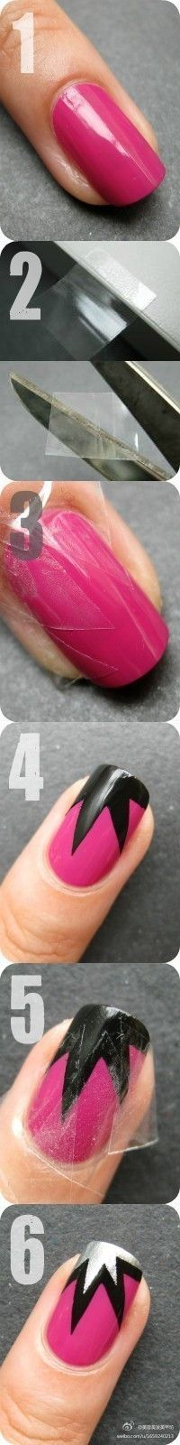 Add designs to your nails with scotch tape