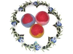 Wool dryer balls large set of 3 color felted heart by feltinga, $18.00