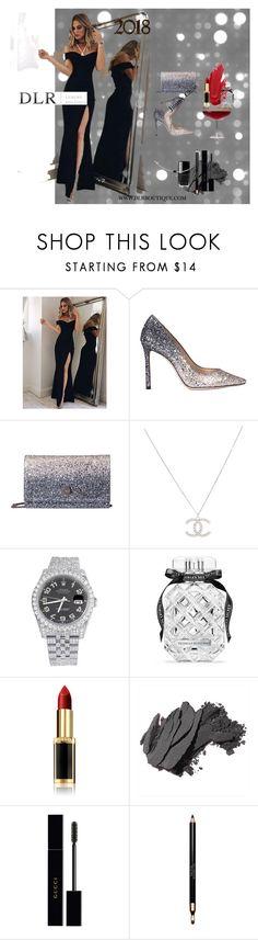 """""""Luxury 2018"""" by dlrluxuryboutique on Polyvore featuring moda, Jimmy Choo, Rolex, Victoria's Secret, L'Oréal Paris, Bobbi Brown Cosmetics, Gucci, Clarins e TOUS"""
