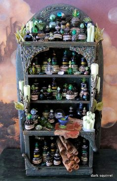 Halloween decor - A miniature witch's potion cupboard. Bead Bottle, Glass Bottles, Mini Bottles, Witch Potion, Halloween Apothecary, Halloween Potions, Potion Bottle, Witch House, Marianne Design