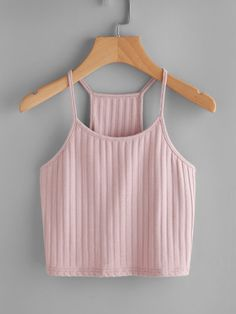 Casual Cami Plain Slim Fit Spaghetti Strap Pink and Pastel Crop Length Ribbed Racer Cami Top Crop Top Outfits, Cute Casual Outfits, Summer Outfits, Cute Crop Tops, Cami Tops, Teen Fashion Outfits, Womens Fashion, Ladies Fashion, Fashion Fashion