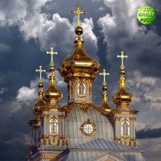 Domes of the Church of Grand Palace. Peterhof. St. Petersburg - Russia