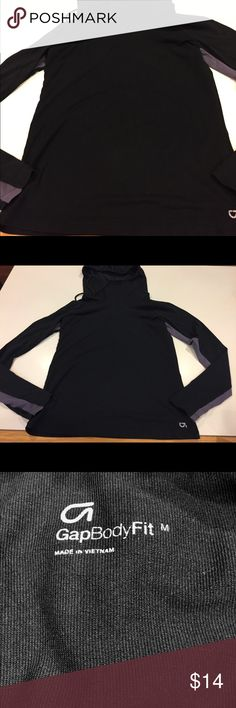GapBody Fit pullover nylon hoodie M Gently worn versatile pullover. Looks great with reds or blues. Gray/purple inserts at sides GAP Tops Sweatshirts & Hoodies