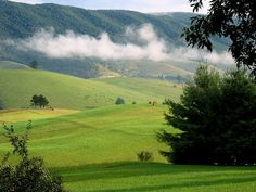 Low clouds over beautiful farm land in  Tazewell County, Virginia