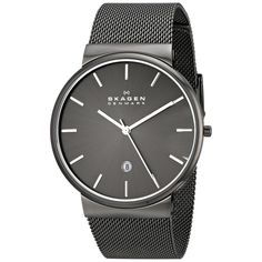 This Ancher men's Skagen watch features gunmetal ion plated stainless steel construction. A date display highlights the grey dial of this fine timepiece. Case: Gunmetal ion plated stainless steel, rou