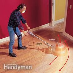 Buff the floor with a sanding screen when you refinish a hardwood floor.