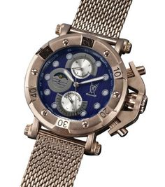 Mens Dress Watch Brown Mesh Bracelet Large Blue Dial Multifunction Day Date Konigswerk AQ101137G Konigswerk. $39.95. Save 68% Off!
