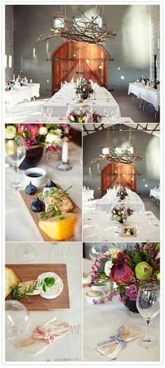 Twig chandelier, fruit centrepieces and place cards written on paper table cloths... fun & beautiful.