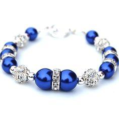 cobalt blue wedding bracelets for bride or bridesmaid
