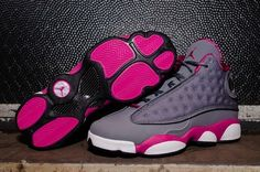 Air Jordan 13 Retro GS - Cool Grey / Fusion Pink for the ladies Jordan 13, Jordan Xiii, Jordan Retro, Jordan Grey, Nike Outfits, Fitness Outfits, Sport Outfits, Workout Outfits, Cute Shoes