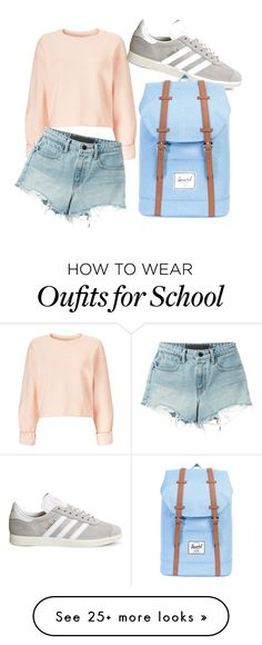 """""""School"""" by lkongsdal on Polyvore featuring Miss Selfridge, T By Alexander Wang, adidas and Herschel Supply Co."""