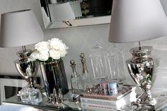 MINT GREY New York Style Interiors | produkty - oświetlenie; Lampa CLAUDIA; niklowana podstawa lampy; Nickel Table Lamp