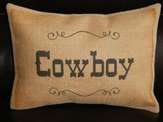 Cowboy Burlap Pillow Western Accent Cowboy by PolkadotApplePillows, $22.95