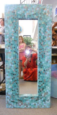 """Byzantine glass mosaic mirror  """"water"""", beautiful functional mosaic art. $750.00, via Etsy."""