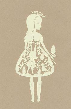 paper cutting art - girl in dress (Alice in wonderland) Kirigami, Paper Cutting, Illustrations, Illustration Art, Silhouettes, Libros Pop-up, Laser Cut Paper, Gif Disney, Adventures In Wonderland
