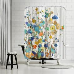 PI Creative Art Spring Garden I Single Shower Curtain - - Shower Curtain – Designed by PI Creative Art for our exclusive artists collection. Neutral Shower Curtains, Ruffle Shower Curtains, Shower Curtain Sets, Hookless Shower Curtain, Shower Sizes, Curtains With Rings, Colorful Curtains, Spring Garden, Creative Art