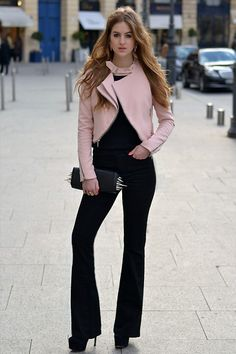 Burberry Flared Jeans, Christian Louboutin Spike Clutch, Zara Pink Jacket