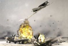 """Scale - Luftwaffe - Messerschmidt Attacking US Army AF - Republic Thunderbolts on the Ground - Luftwaffe's Operation """"Bodenplatte"""" Military Diorama, Military Art, Model Hobbies, Military Modelling, Aviation Art, Luftwaffe, Model Building, Small World, Plastic Models"""