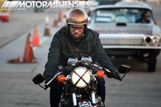 motorcyclist bobber cafe racer goggles gold flake helmet Mooneyes hot rod rat kustom Irwindale Speedway xmas party