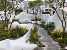 Alternative Eden Exotic Garden: Chelsea The Fresh Gardens Contemporary Landscape, Urban Landscape, Landscape Design, Garden Design, Landscape Architecture Drawing, Landscape Walls, Classical Architecture, Ancient Architecture, Sustainable Architecture