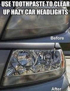Toothpaste to clear up hazy car headlights