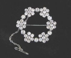 Vintage Circlet of Flowers Brooch Clear Claw by TheWhistlingMan, £10.00