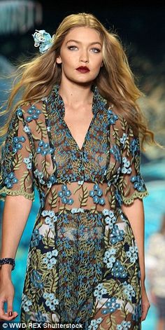 Fine-looking fashionista: Hadid stunned last week on the runway at the Anna Sui Spring Sum...