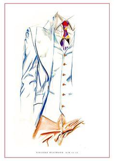 Colour pencil fashion illustration- Vivienne Westwood by Nas Abraham