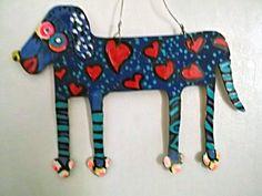 folk art dog hanging tin CUT OUT DOG painting 2 sided DOUBLE DOG USA Gail Grant #NaivePrimitive